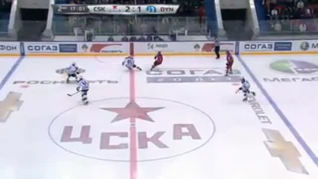 Видео. 3:1 Прохоркин (ЦСКА) забрасывает шайбу в сетку